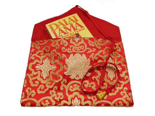 BROKAT Nepal Schutzhülle Tasche rot Traditionelle Tibet BUCH HÜLLE