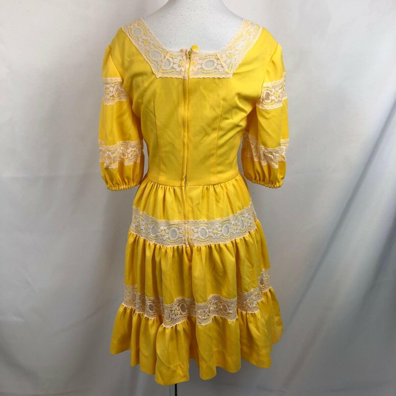 Vintage Lolita Dress Bright Yellow S/M See measur… - image 7
