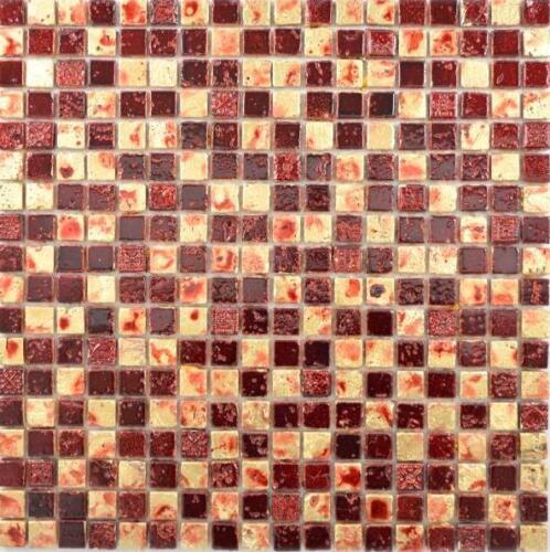WB88-0709 Mosaik Fliese Stein Resin gold rot Wand Küche Theke Fliesenspiegel