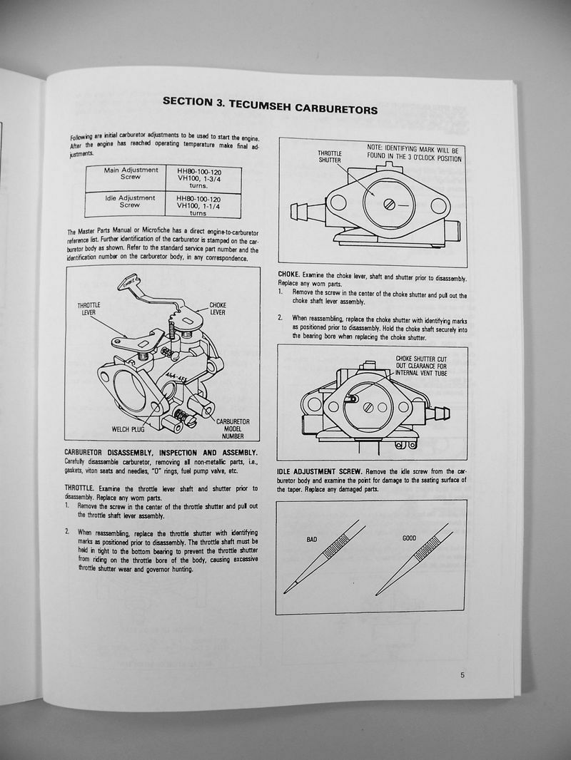 Bolens 1253 Wiring Diagram Library Lawn Tractor Mower Garden Tecumseh Hh120 Engine Service Manual Ebay