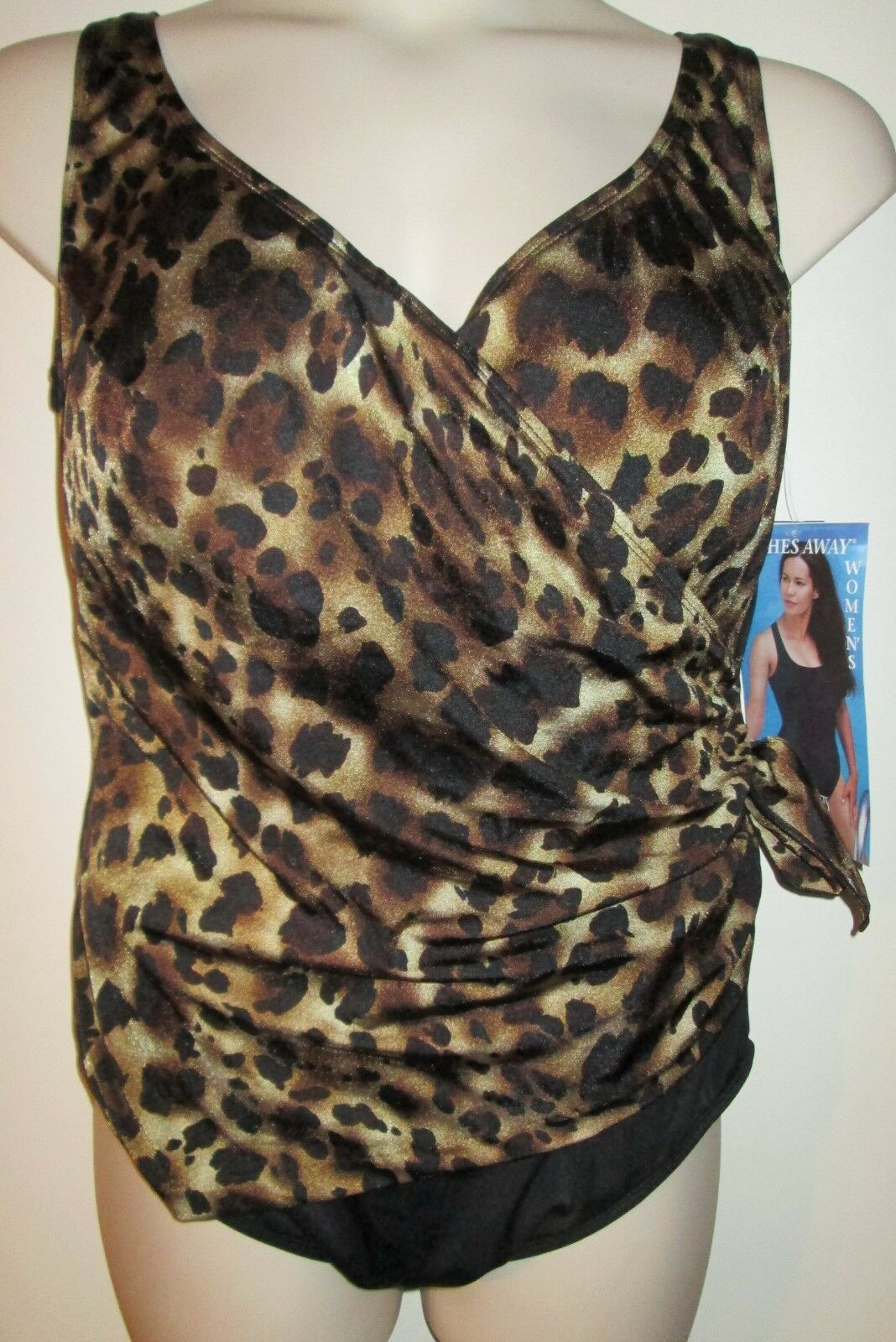 INCHES AWAY Womens SWIMSUIT 24W NEW 1pc TUMMY CONTROL NWT  88 Leopard 24 Plus