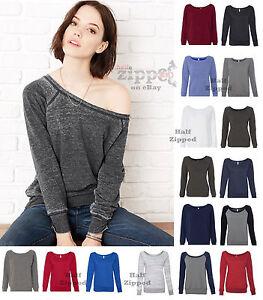 Bella-Ladies-Sponge-Fleece-Wideneck-Sweatshirt-7501-S-2XL-Slouchy-Off-Shoulder