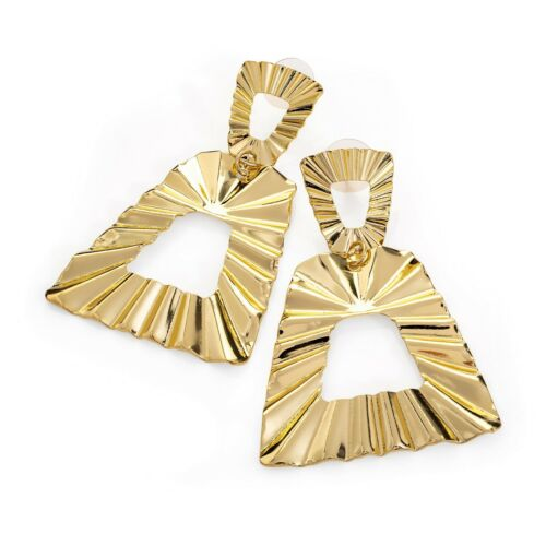 Large Gold Coloured Triangle Design Drop Earrings Fashion Jewellery