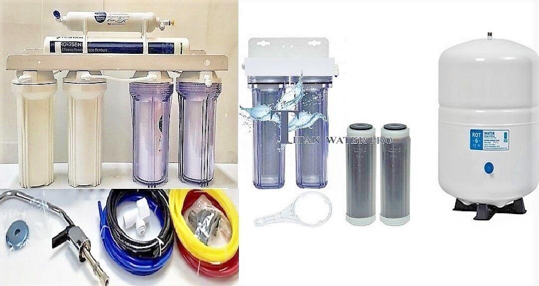 RO Aquarium Drinking Water-Pentair Gro-EN75 Membrane, 6 Stage Dual DI - 6G Tank