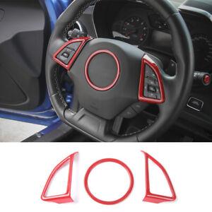 Red Interior Steering Wheel Cover Trim Accessories For Chevrolet Camaro 16-17