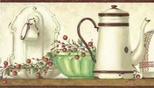 Wallpaper-Border-Country-Enamelware-Cup-Coffee-Pot-Bread-Tin-Green-Bowl-on-Shelf