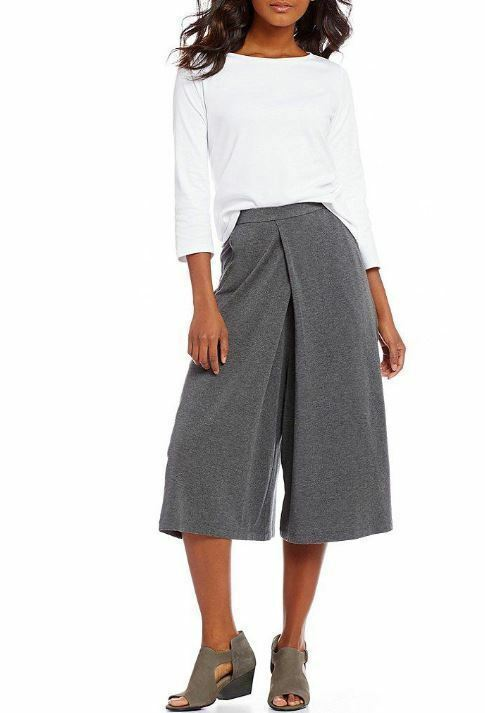 Eileen Fisher Tencel Stretch Jersey Cropped Culottes, Ash Grey L NWT