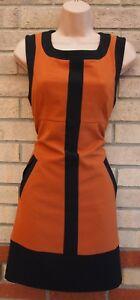 Pavos-Reales-Camel-Negro-recorte-a-medida-una-linea-Retro-70-Curry-formales-de-trabajo-vestido-10-S