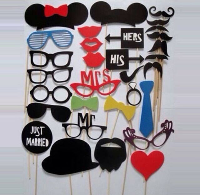 XICA 31PCS DIY Mask Photo Booth Props Mustache On A Stick Wedding Birthday Party