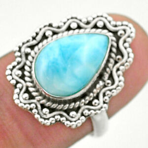925 Sterling Silver 4.03cts Solitaire Natural Blue Larimar Ring Size 7 T41483