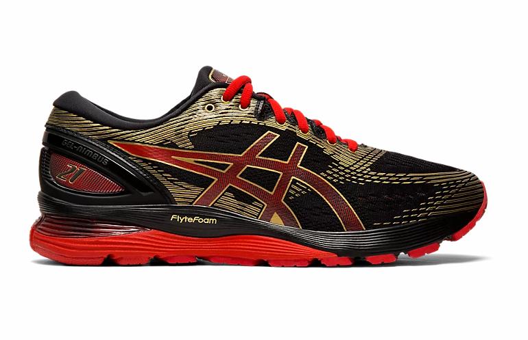 ASICS 1011A257.001 GEL-Nimbus 21 Mn´s (M) nero rosso Fabric Running scarpe