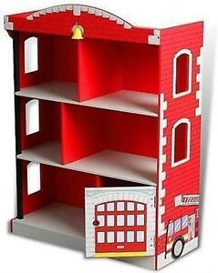 Image Is Loading Kids Wood Fire Station Book Shelf Toy Storage