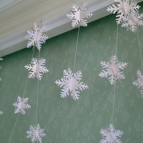 3D Snowflake Hanging Bunting Banner Garland Paper Christmas Party Fad Decor