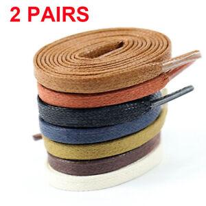 2-Flat-Wax-Shoelaces-Dress-Canvas-Sneaker-Boots-Leather-Shoe-Laces-String-Shoes