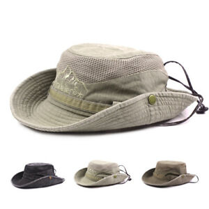 acc0e06f2db Image is loading Mens-Bucket-Hats-Cotton-Embroidery-Outdoor-Outdoor-Mesh-