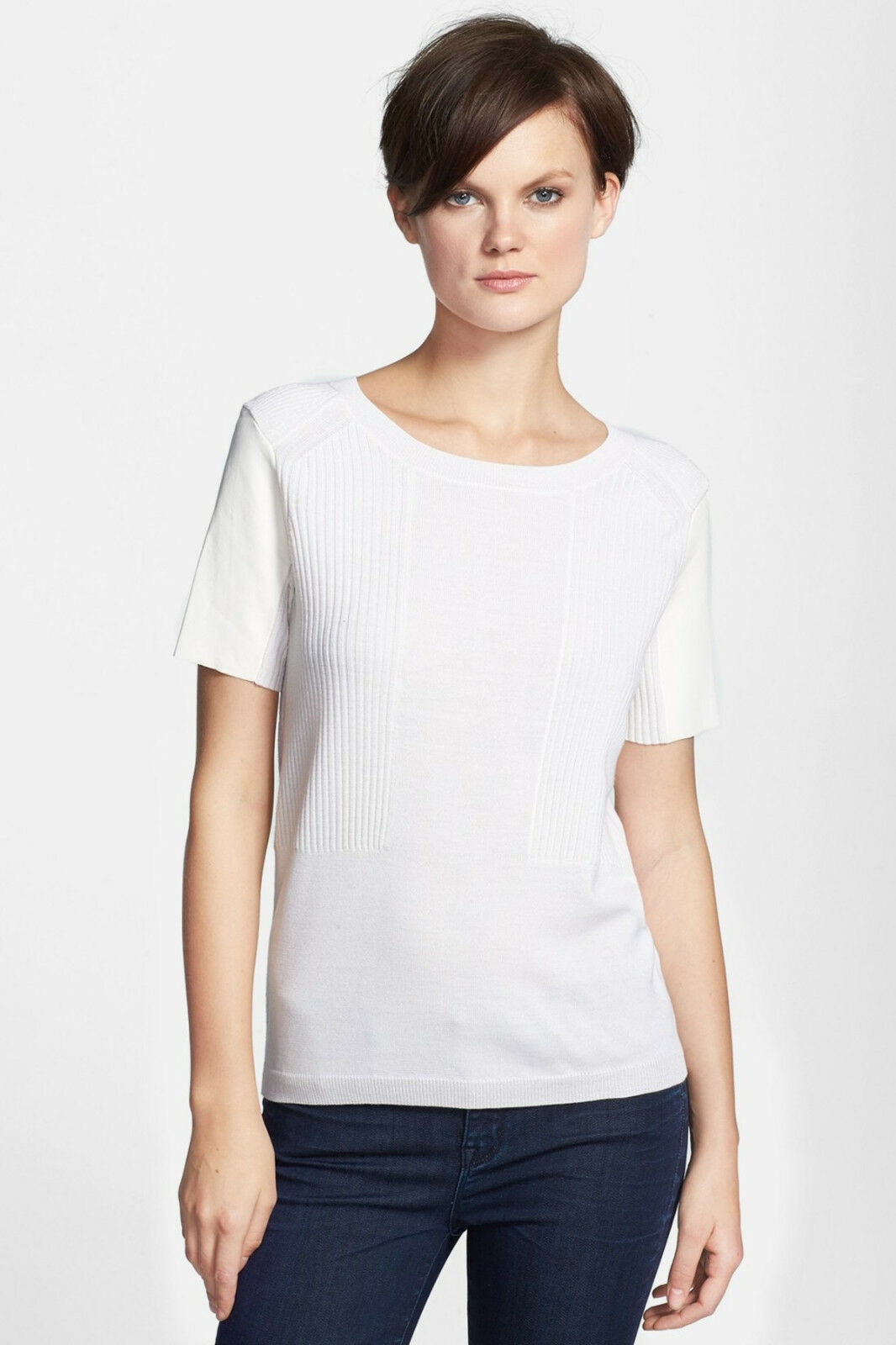 NWT S M 2 4 6 VINCE Leather Sleeve Sweater Tee shirt WOOL LAMB SKIN silk