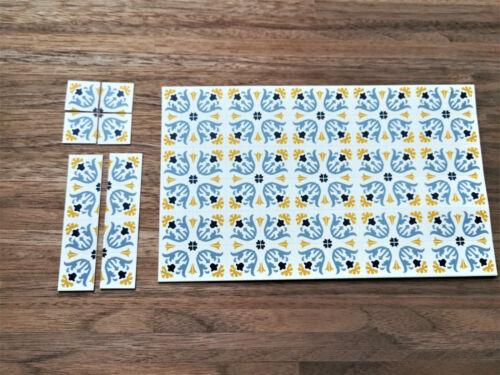 Dollhouse Miniature Blue /& Cream Tile Flooring Sheet 1:12 Scale Break Off Pieces