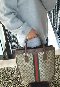 Unisex-Authentic-Vintage-Gucci-Shopper-Shoulder-Tote-Bag-Brown-Leather