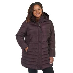 Rachel Roy Plus Cinch-Waist Hooded Puffer Jacket - Women's Size 2X - Burgundy