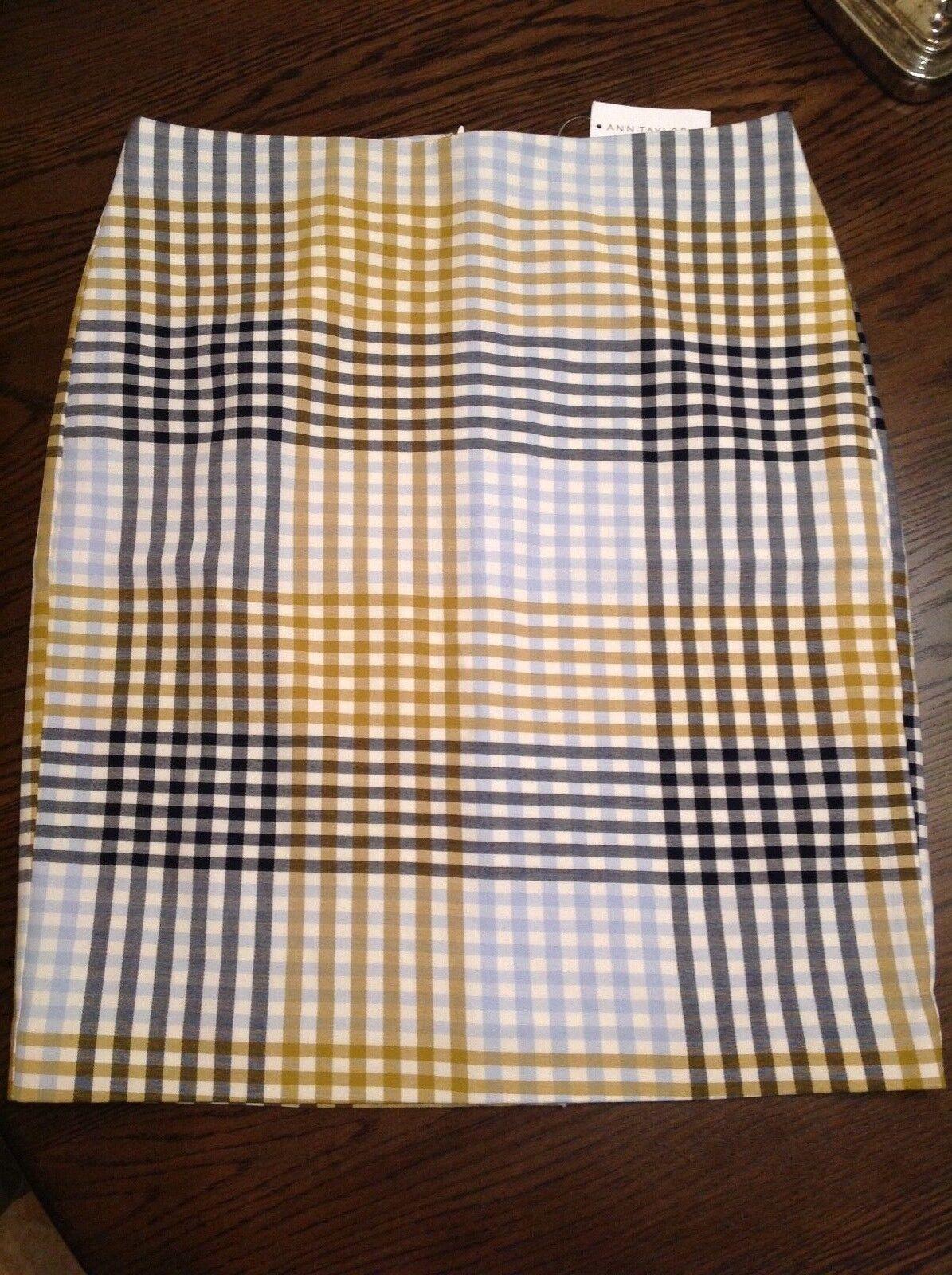Ann Taylor Factory Store Gingham Stripe Pencil Skirt , NWT, sz.8 orig 79.99