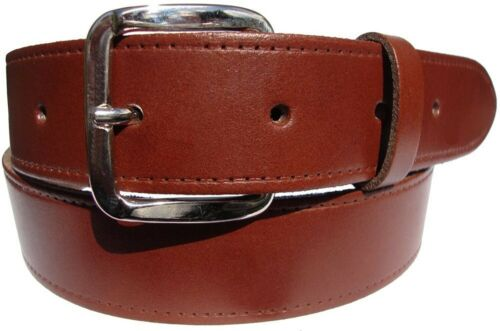 Mens Womens Plain Leather Jeans Trouser Belt In Black Brown or Tan Silver Buckle