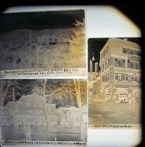 Bad Kissingen  Bachstraße 3  Kasino  und Ort 1930    3 x  Antike Glasnegative