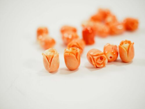 Top Quality Precious Top Pink Salmon Coral Carved 3-D Rose Cabochons 11-12mm