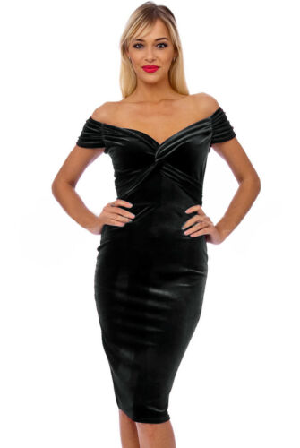 Nuevo Terciopelo Negro Elegante para Mujer Velour Vestido Bodycon Midi Lápiz Bardot 8-18