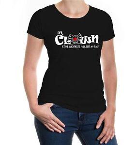 Damen-Kurzarm-Girlie-Shirt-Der-Clown-ist-die-wichtigste-Mahlzeit-am-Tag-Funshirt