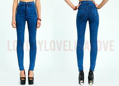 Royal Blue High Waist ACID Mineral Wash Skinny 80s Trends Jean Pants P38 1 - 15