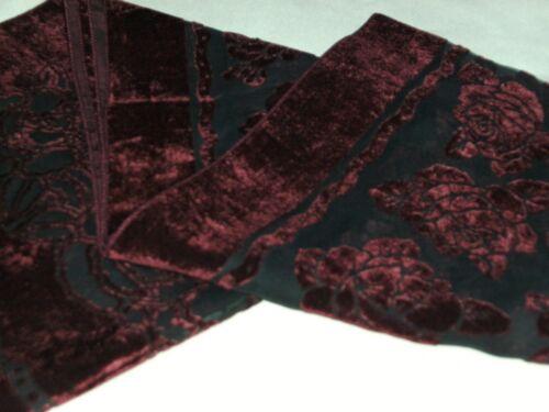 BNWT-Beautiful Floral Design Velvet and Chiffon Scarves Burgundy Dark Green