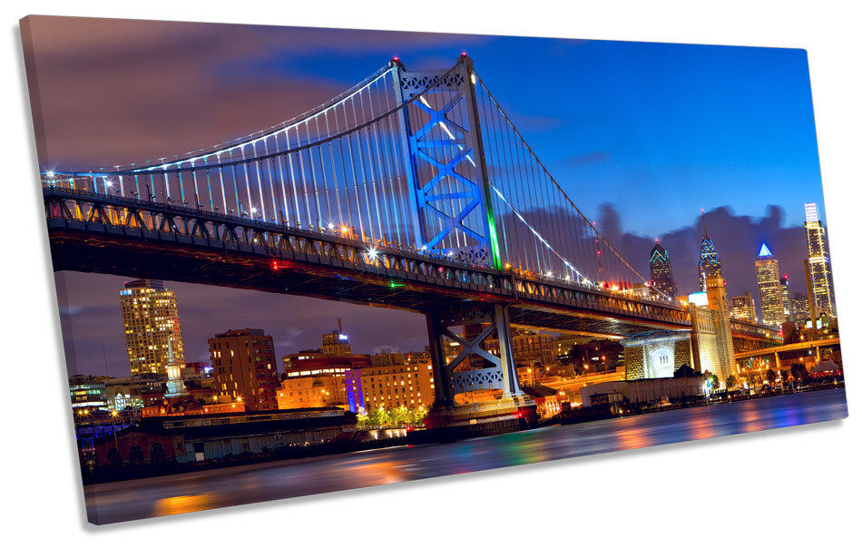 Philadelphia Skyline Ben Franklin Bridge  PANORAMIC CANVAS Wand Kunst Framed Drucken