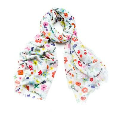 Fun design with a brightly coloured flower print Scarf with a feathered edge