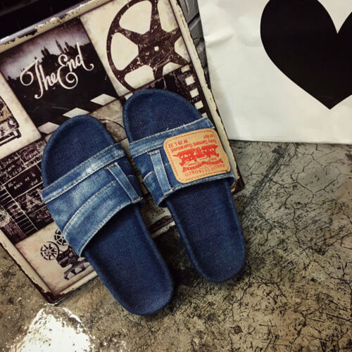 Womens Girls Summer Sandals Shoes Slip On Flat Blue Denim Comfy  Slipper YJ1 TOP