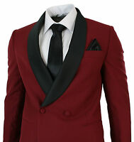 Mens Wine Maroon Double Breasted Slim Fit Tuxedo Suit Black Shawl Collar Wedding