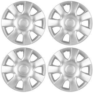 4-Pc-Set-of-15-034-Inch-Silver-Hubcaps-Full-Lug-Skin-Rim-Cover-for-OEM-Steel-Wheel