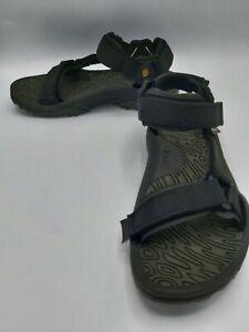 Teva-Men-s-Black-Gray-Leather-Sandals-Terra-Fi-Sport-Trail-Hiking-Size-10-EUC