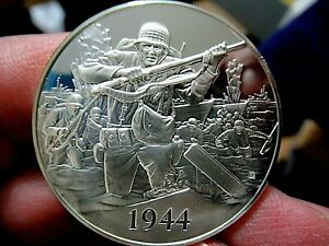 Silver Medal, 1944 D-Day, WWII Invasion of Europe, 1.05 Troy Oz. Sterling Silver