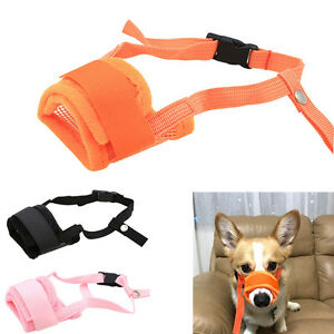 New-Puppy-Dog-Muzzle-Mesh-Fabric-Pet-Training-Stop-Chewing-Biting-Mouth-Cover