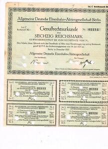 Allgemeine-Deutsche-Eisenbahn-AG-Berlin-1925-GR-60-RM-nicht-im-BARoV-selten