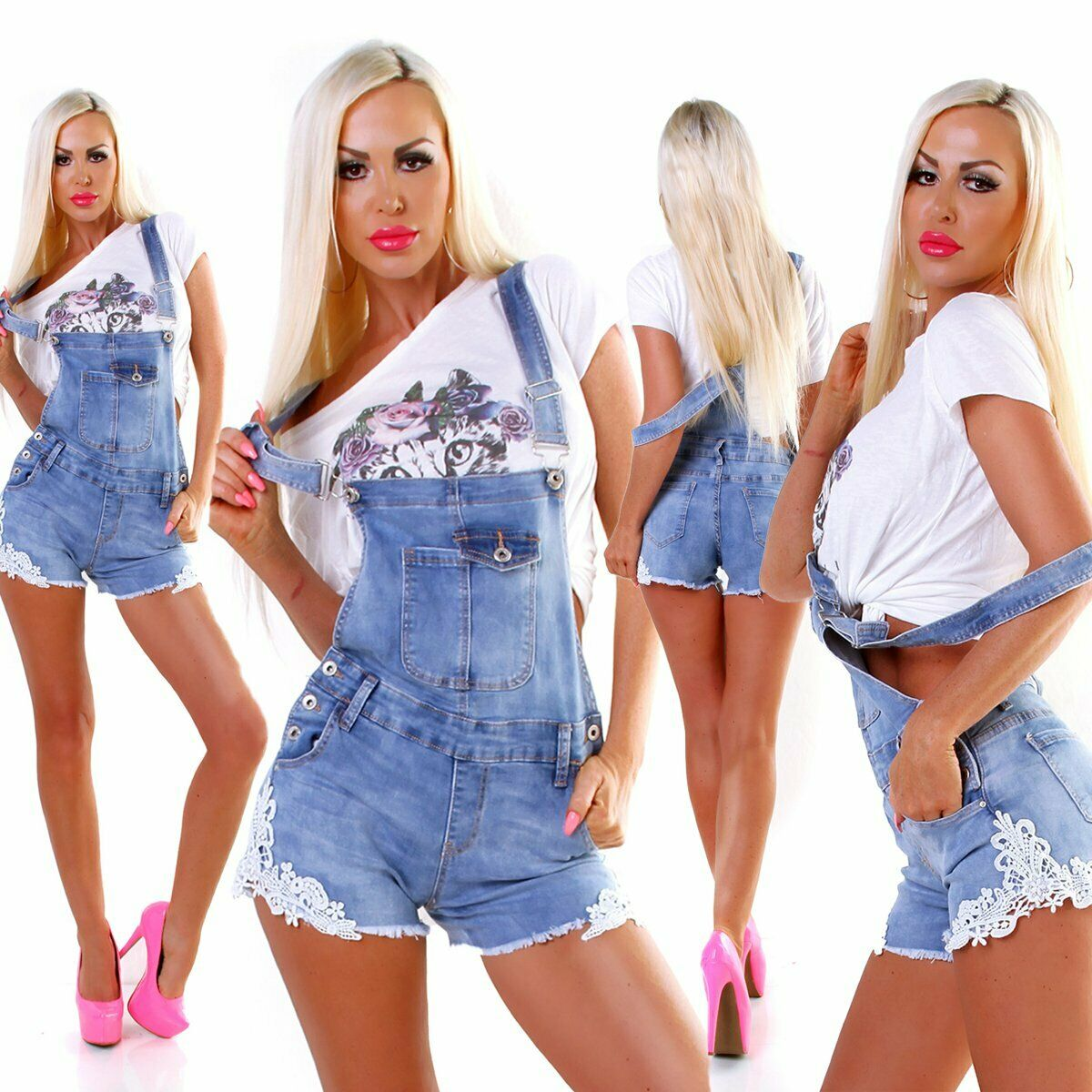 5392 Damen Latzjeans Latzshorts Hotpants Jeans Shorts kurze Hose Spitze Fransen