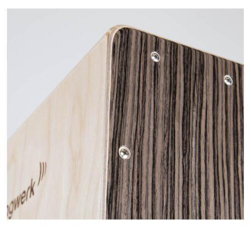 Super Schlagwerk Cajon Vintage Walnut mit 40 Spiralen ideal für Anfänger Walnuss