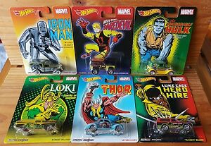 Hot-Wheels-2015-Pop-Culture-MARVEL-Set-of-6-FORD-DODGE-CHEVY-A-A