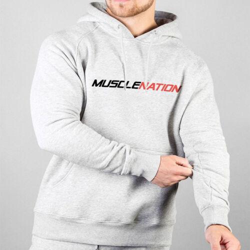 Men MUSCLENATION Pure Fitness Gym Training Bodybuilding Casual Hoodie Sweatshirt