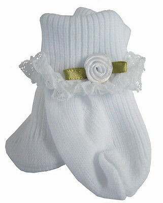 EASTER Lace Trim Socks w/ White Rosebuds for Bitty Baby + Twins Doll Clothes