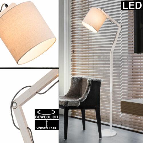 LED Steh Leuchte Schlaf Zimmer Holz Gelenk Stand Lampe höhen verstellbar weiß