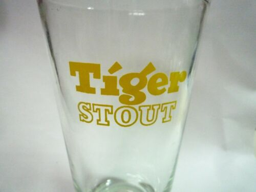 """TIGER STOUT BEER Vintage Gold Beer GLASS  MALAYSIA Old 6/"""" Tall Gold Logo 1985"""