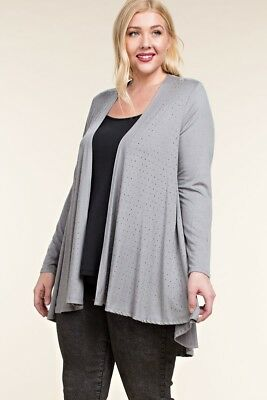 M XL 3XL 2XL NEW DARK GRAY WAFFLE LACE STUDDED VOCAL CARDIGAN SIZE S