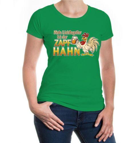 Damen Kurzarm Girlie T-Shirt Mein Lieblingstier ist der Zapfhahn Bier Sprüche