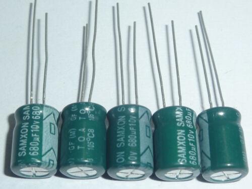 10pcs 680uF 10V 8x11.5mm SAMXON GF 10V680uF High ripple Low Impedance capacitor